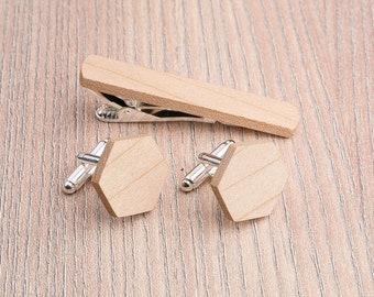 Wood Cufflinks and Tie Clip Set. Wedding Maple Hexagon Cufflinks. Wood Tie Clip Cufflinks Set. Boyfriend gift, Groomsmen Cufflinks set.