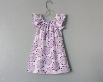 Little Girls Purple and White Flannel Dress - White Dress with Purple Flowers - Flutter Sleeve Dress - Size 12m, 18m 2T, 3T, 4T, 5, 6 or 8