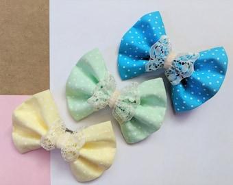 Pince à cheveux mignon cheveux noeud (6 couleurs) «lolita» mode style noeud, spotty dentelle filles cheveux Mure ~ accessoires de barrette pince à cheveux