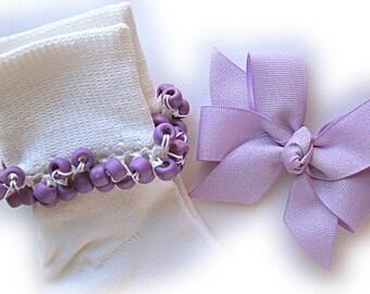 Kathy's Beaded Socks - Lavender Fairy Dust socks and Hair Bow, girls socks, purple socks, school socks, lavender socks, fairy socks