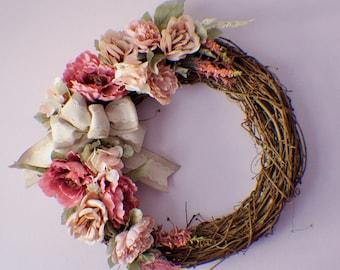 Front Door Wreath, Fall Wreath, Summer Wreath, Winter Wreath, Summer Wreath, Spring Wreaths, Peonies Wreath, Year Round Wreath