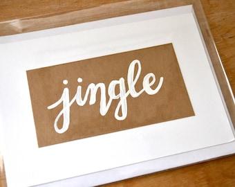 Jingle Christmas Holiday Notecard - Custom Made to Order Hand Drawn Folded Note Card / Greeting Card