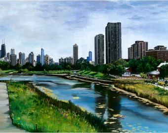 Chicago Lincoln Park Zoo Oil Painting -18x12in Giclee Print