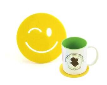 Cheeky Smiley Face Emoji Coaster Yellow