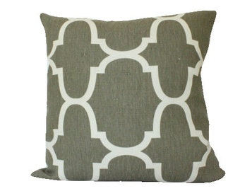 Dark Grey Riad Pillow Cover in Geometric Windsor Smith Kravet Fabric, Riad