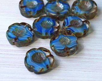 6 Czech Glass Beads 14mm Hawaiian Pansy Flower Blue Tones - CB009