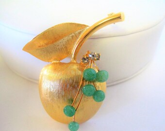 Brushed Gold Apple Brooch,  Green Peking Glass Beads, Gift for Teacher