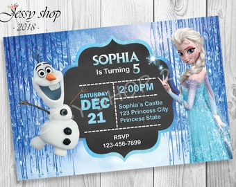 Frozen Party Invitation Print Yourself, Frozen Birthday Invitation , Frozen Party Printable Invitation, Frozen Elsa Invitation