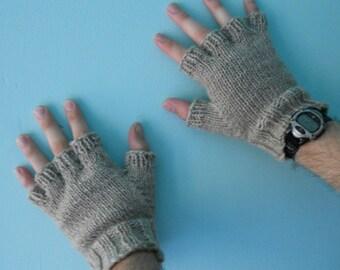 Men's Wool Fingerless Gloves - Oatmeal