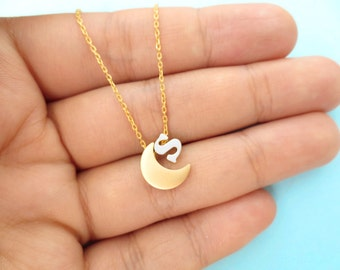 Crescent, Moon, Personalized, Small, Letter, Initial, Gold, Moon, Silver, Letter, Necklace, Love you to the Moon, Birthday, Friendship, Gift