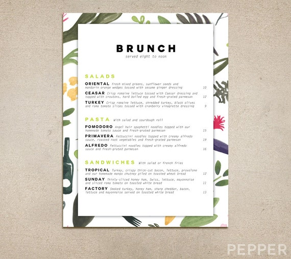 Custom Restaurant Menu Printable PDF Template Diner Pub