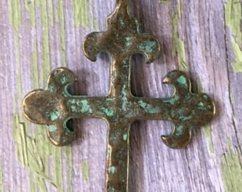 Cross Turquoise GREEN Patina over Antiqued Gold Hammered Pewter Jewelry Pendant Supply