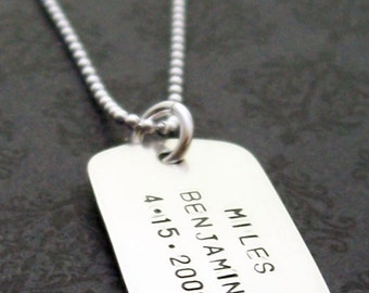 Dog Tag Necklace in Sterling Silver - Medium Dog Tag - Men's Military Style Necklace - Personalized Father's Gift w/ Names & Dates