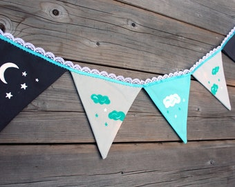 Garland pennants grey and turquoise, moon, night, clouds, stars