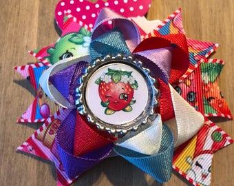 Multicoloured shopkins strawberry kiss rosette hair clip