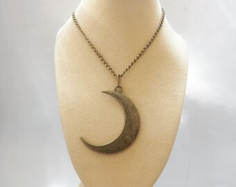 Bronze Crescent Moon Necklace, Brushed Bronze on Bronze Chain, Moon Pendant, Moon Necklace