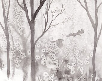 "Original art: ""Crows & Trees"". Painted ink on paper, black and white, crows, trees, woodland, magical, mystical."