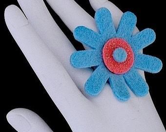 Megan (Funky Felt Flowers Cocktail Ring)