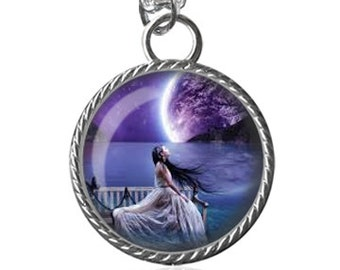 Full Moon Necklace, Scenery Necklace, Beautiful Art Image Pendant Key Chain Handmade