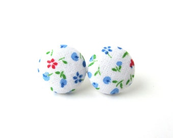 Cute bright earrings - white button earrings - stud earrings - fabric flower earrings winter green blue red tiny
