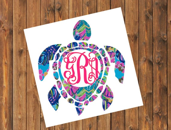 Free Shipping-Exotic Garden Sea Turtle Monogram Decal, Personalized,Yeti Rambler, RTIC Corkcicle,Laptop,Sticker, Sea Turtle, Ocean Beach Bay