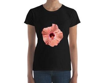 Modern Pink Hibiscus Print - Women's short sleeve t-shirt
