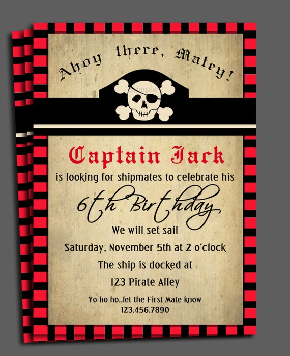 Pirate invitation printable or printed with free shipping stopboris Images