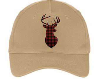 Baseball Hats, Deer Hats, Deer Caps, Plaid Deer Hat, Hunting Hats, Gifts for Men, Mens Hats, Mens Cap, Hats, Caps, Deer, Gift Ideas