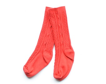 Red Knee High Socks. Hand Dyed Cotton Socks. Cable Knit Knee High Socks for Babies, Toddler and Girls