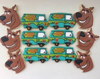 Scooby Doo cookies, Mystery Machine, Kid's Birthday, Dessert Table, Party Favors, Treat Bags, Birthday Party