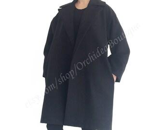 long black coat/ maxi winter coat/ minimalist coat/ Cocoon coat/ Oversize coat/ Women outerwear/ cashmere coat/ women coat jacket WINTER