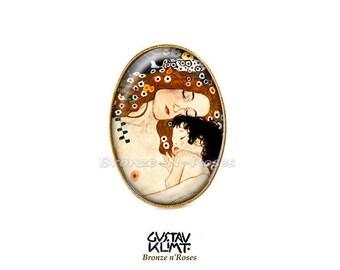 Ring * mother and child * Gustav Klimt tan beige brown glass retro jewelry