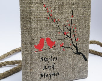 Wedding rustic guest book burlap Linen Wedding guest book Bridal shower engagement anniversary Red birds on branch