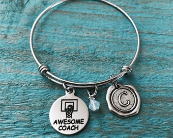 Awesome Coach, Basketball Hoop, Basketball Coach, b ball, shooting hoops, Basketball Gift, Basketball Team, Silver Bracelet, Charm Bracelet