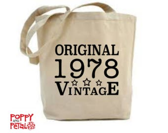 40th Birthday Bag, 40th Birthday Gift, 40th Birthday Idea, 40th Present for Mom, Mum, 1978 Birthday Tote Bag, 40 Birthday Gift for Her, 1978