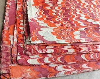 Wavy Red  Full Sheets Marbled Sunn Hemp Paper, Artisan made Islamic Hemp paper, red orange cream marbled book binding cover or end papers