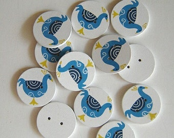 Scandinavian-Style Painted Peacock  OR Painted Basket  Buttons - Four (4)