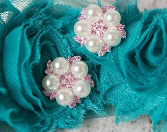 Light Pink pearl Buttons, Flatback Rhinestone Embellishment, Metal Button pink flat back pearl, wedding supply, acrylic button, scrapbooking