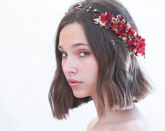 Flower Crown in Red and Gold Holiday Halo for Weddings and Photo Shoots Floral Wreath Hair Accessory of Flowers and Berries with Gold Leaves