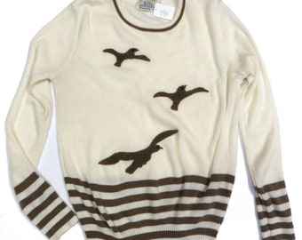 True Women's Vintage 1970s Seagull Sweater Top; Size Small