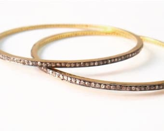 Rosecut diamond rustic diamond pave champagne diamond thin bangles gold silver bangles