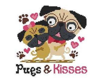 Pugs & Kisses Counted Cross Stitch PDF Pattern