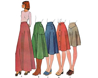 Women's Skirt Sewing Pattern, Misses Size 14, Waist 28, UNCUT Easy to Sew Vintage 1970's McCall's 4589