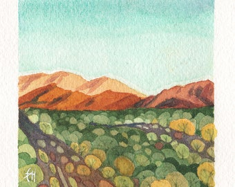 Mini Watercolor Painting Abstract Landscape Surreal Desert Mountains - Rust
