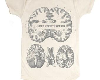 Brain: Under Construction Baby Bodysuit   Anatomy, Organic baby shower, Teacher Gift, Development, Anatomical Brain, nursing neuron