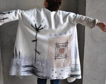 Felted jacket  Felted clothes  Felted apparel   Designer coat   Woolen wrap   Eco fashion    Felted coat   Gift for her  Unusual coat