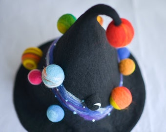 Wool hat,Needle Felted hat pattern,The witch hat with planet