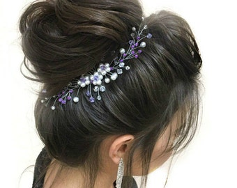 Purple Crystal Pearl Hair Comb Bridal Hair Piece Pearl Flower Bridal Hair Comb Purple Wedding Hair Accessories Wedding Headpiece Bridal Hair