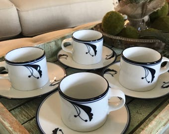 Dansk Flora set of Four Flat Cup and Saucer Set Bayberry Blue 2 1/2 Coffee Cup Tea Cup Blue and White Dish Flower TYCAALAK