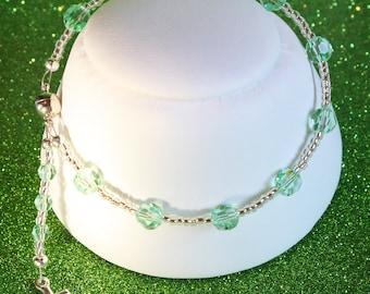 Swarovski Crystal Rosary Bracelet in Light Peridot Green